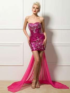 Sexy Sweetheart Sheath Sequin Cocktail Dress with Detachable Train