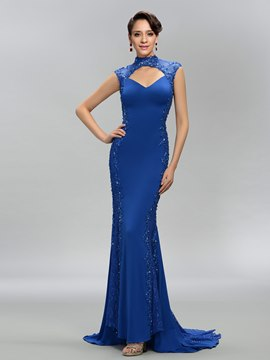 High Neck Trumpet/Mermaid Open Back Evening Dress