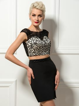 Sexy Jewel Neck Short Sleeve Two Piece Cocktail Dress