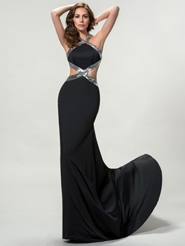 Sexy Halter Criss-Cross Straps Sequins Long Evening Dress