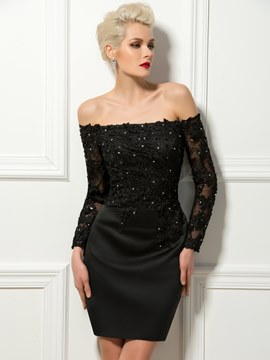 Stilvolle Off-The-Shoulder Langarm-Cocktail-Kleid