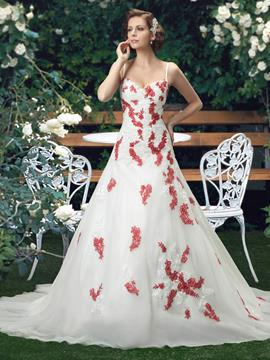 Unique Straps Floor-Length Lace-Up Appliques Wedding Dress