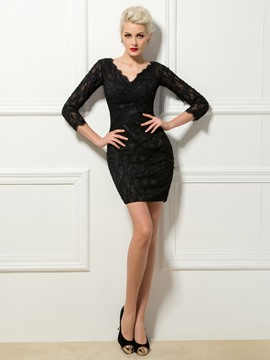 Gaine col en v dentelle Mini robe de Cocktail