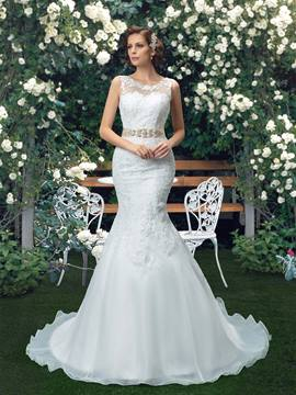 Scoop Tulle Crystal Applique Zipper-Up Trumpet Wedding Dress