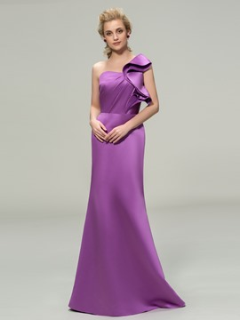 Elegent One Shoulder Long Bridesmaid Dress