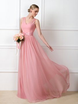 Ericdress A-Line V-Neck Sashes Long Bridesmaid Dress