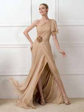 Ericdress One-Shoulder Sweep Train Side-Split Evening Dress
