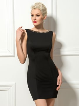 Sheath Deep-V Back Scoop Neck Mini Cocktail Dress