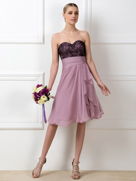 Pretty A-Line Sweetheart Lace Zipper-Up Knee Length Bridesmaid Dress