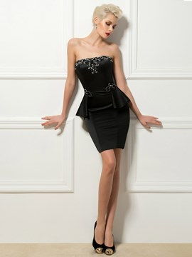 Ericdress Stunning Strapless Beading Sheath Short Cocktail Dress