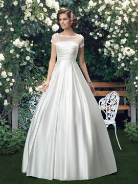 Simple Bateau Short Sleeves Floor Length Wedding Dress