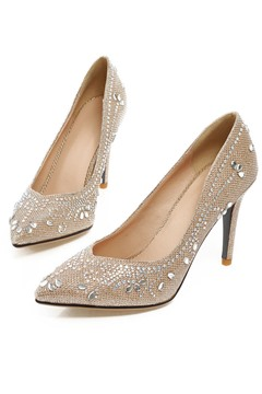 Shining Rhinestone Studded Pointed Toe Pumps