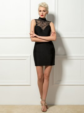 Modern High Neck Lace Sheath Mini Length Cocktail Dress