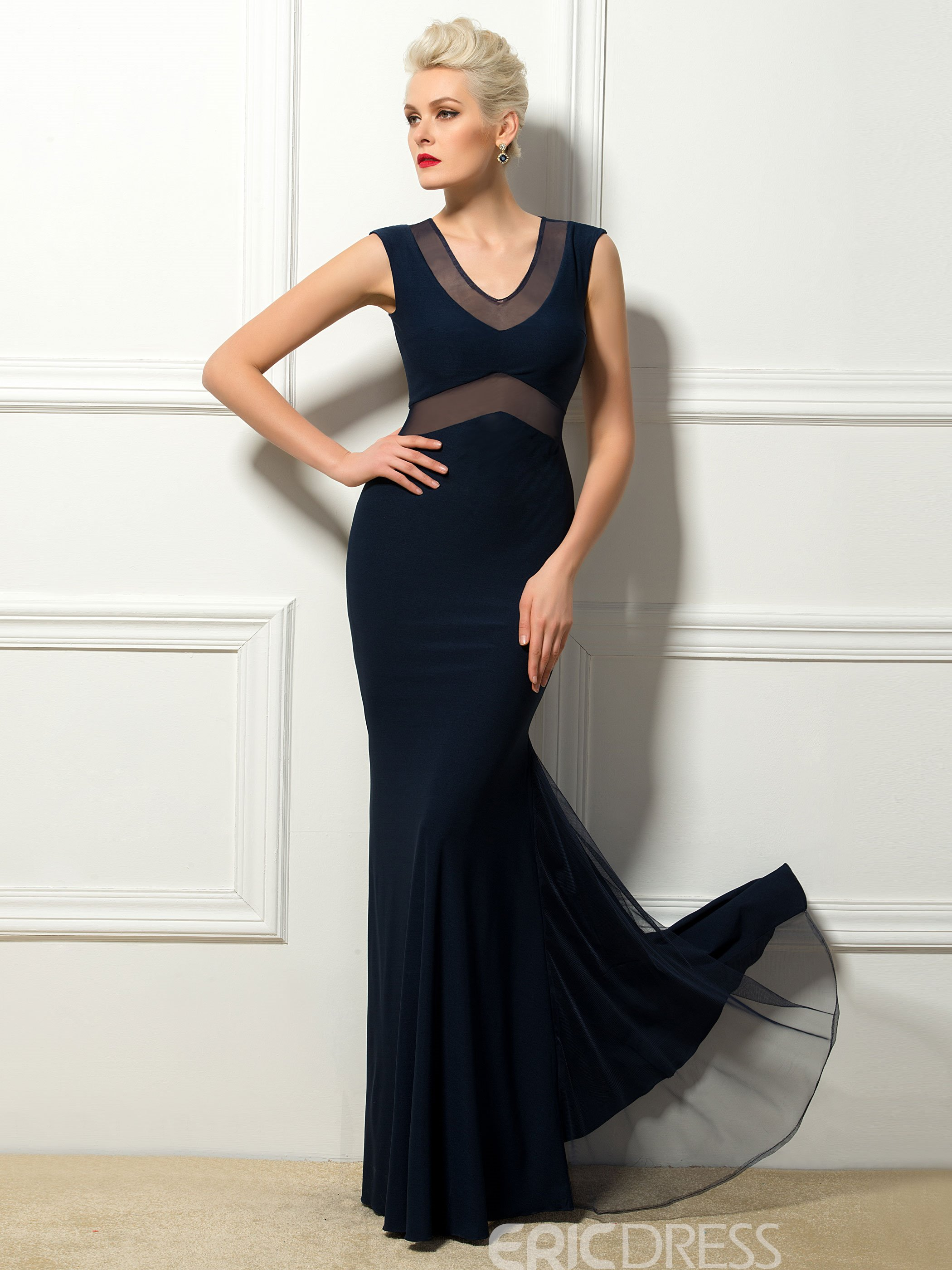 Concise V-neck Trumpet/mermaid Evening Dress