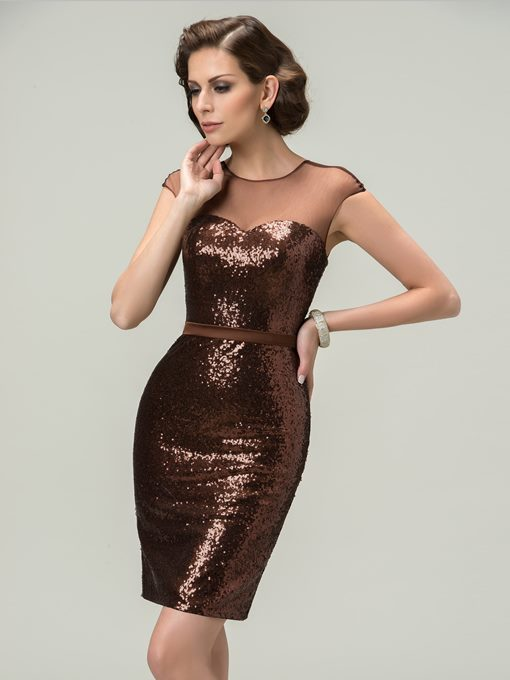 Sexy Sheath Scoop Tulle Sequins Mini Cocktail Dress