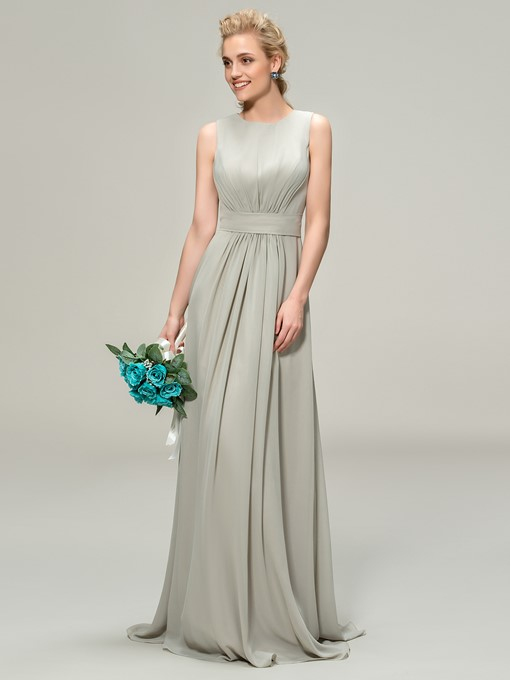 A-Line Scoop Pleats Zipper-Up Bridemaid Dress