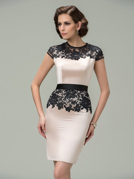 Sheath Jewel Cap Sleeves Lace Cocktail Dress