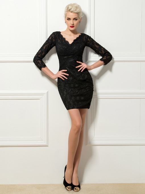 V-Neck Sheath Lace Mini Cocktail Dress