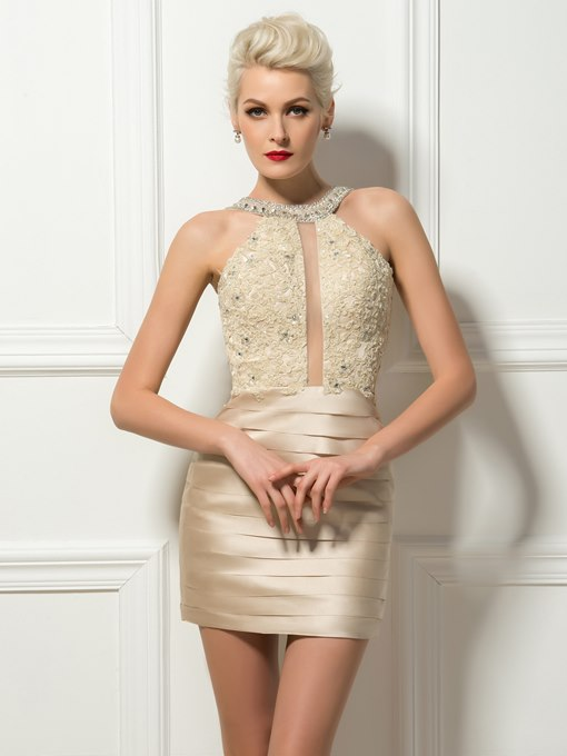 Modern Scoop Neck Sheath/Column Short Cocktail Dress