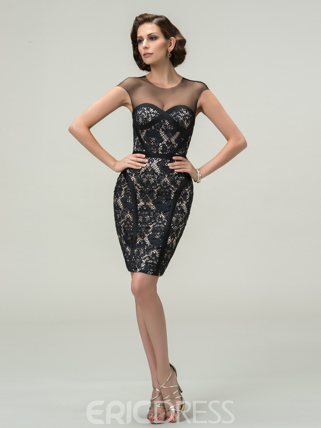 Sexy Sheath Scoop Cap Sleeves Tulle Short-Length Cocktail Dress