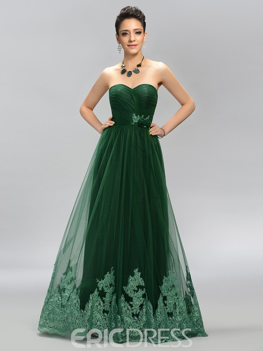 Simple Sweetheart Appliques A-Line Long Prom Dress