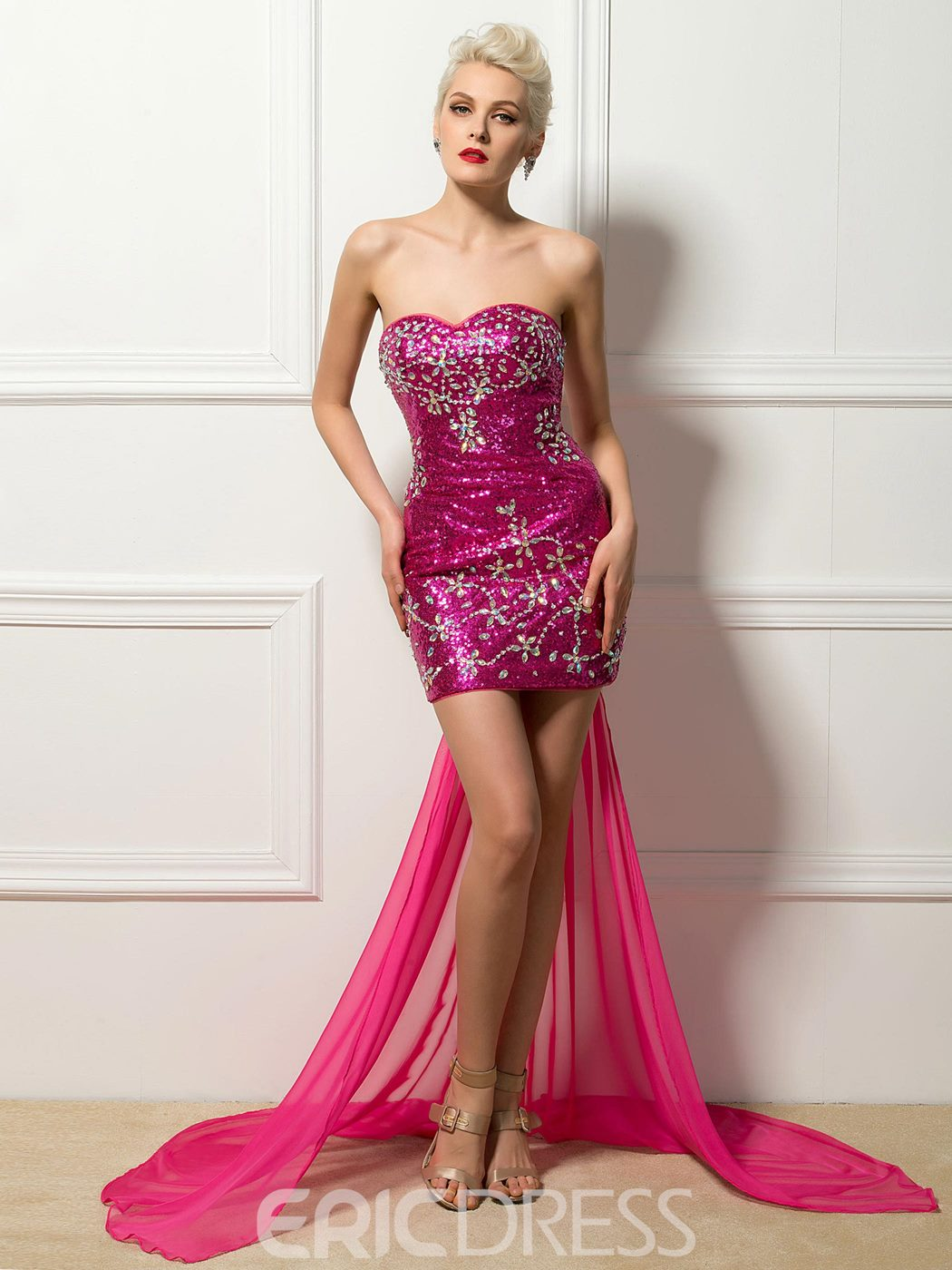 Sexy Sweetheart Sheath Sequin Cocktail Dress with Detachable Train ...