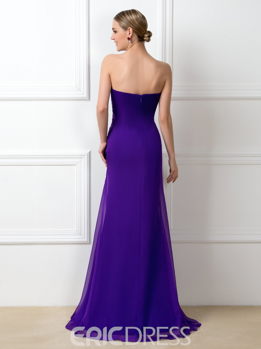 Concise A-Line Strapless Ruched Crystal Floor-Length Bridesmaid Dress