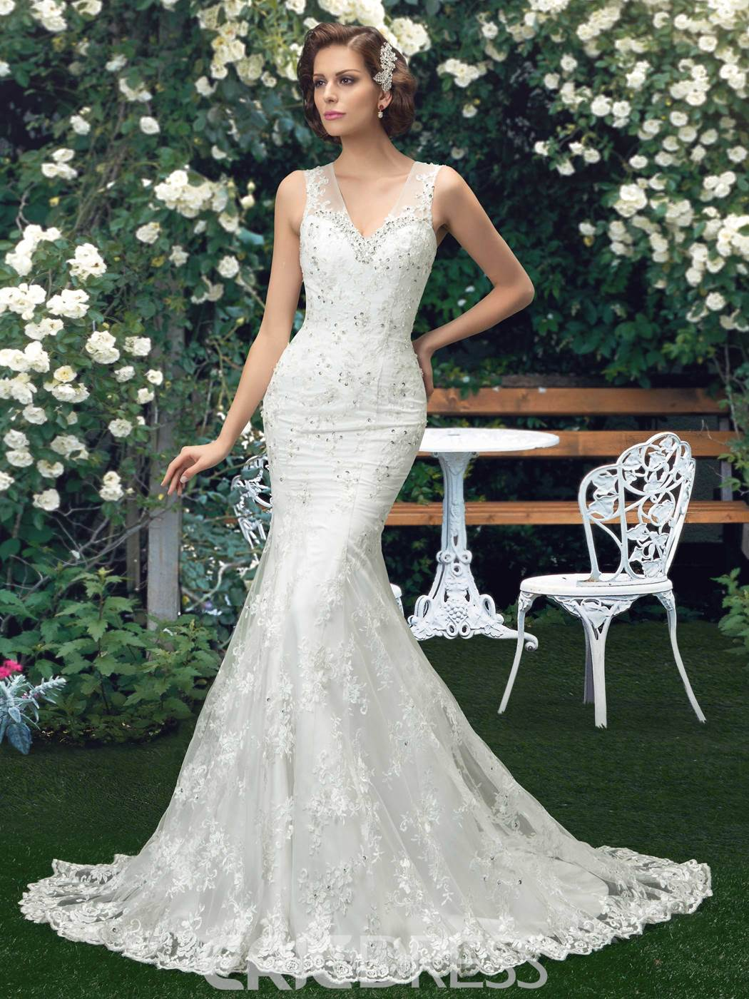 V-Neck Court Train Button Mermaid Lace Wedding Dress