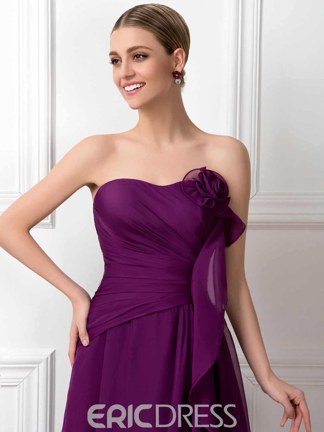 A-Line Strapless Empire Ruched Pleats Bridesmaid Dress
