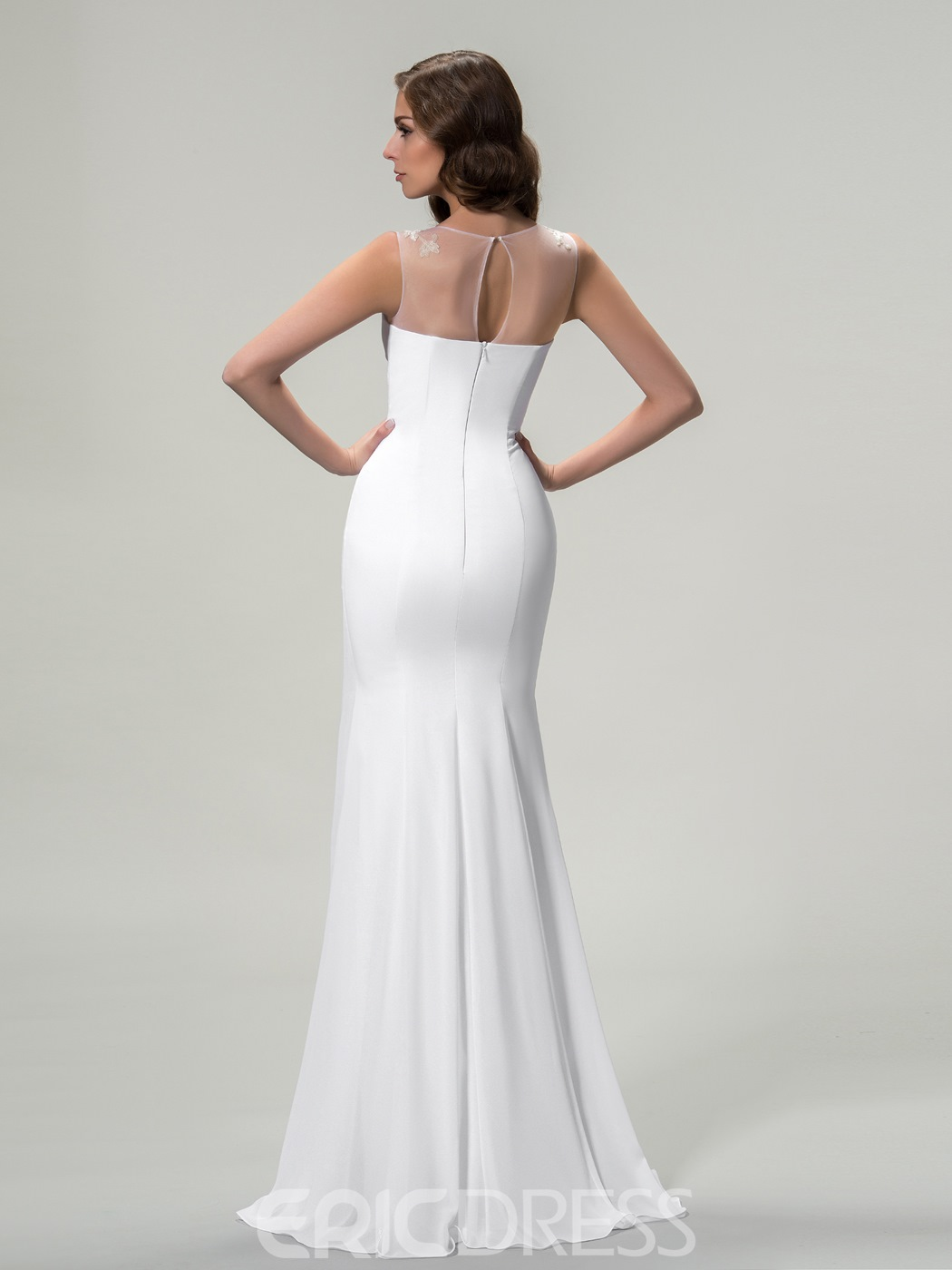 Awesome Jewel Neck Sleeveless Appliques Sheath Long Evening Dress