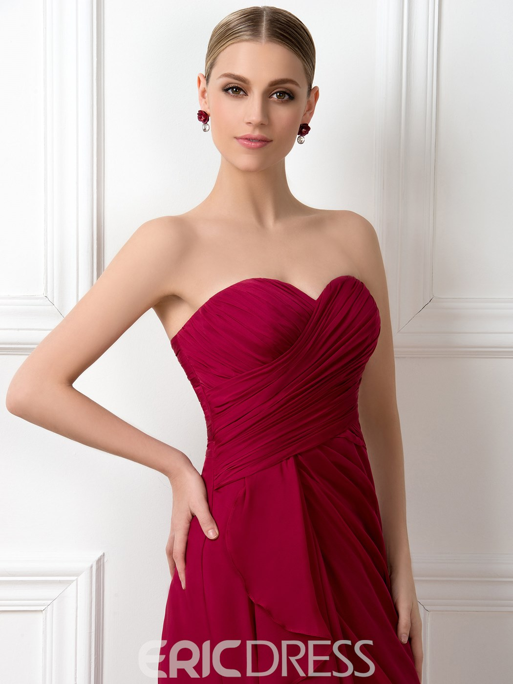 Charmante robe de demoiselle d'honneur a-ligne Sweetheart Empire
