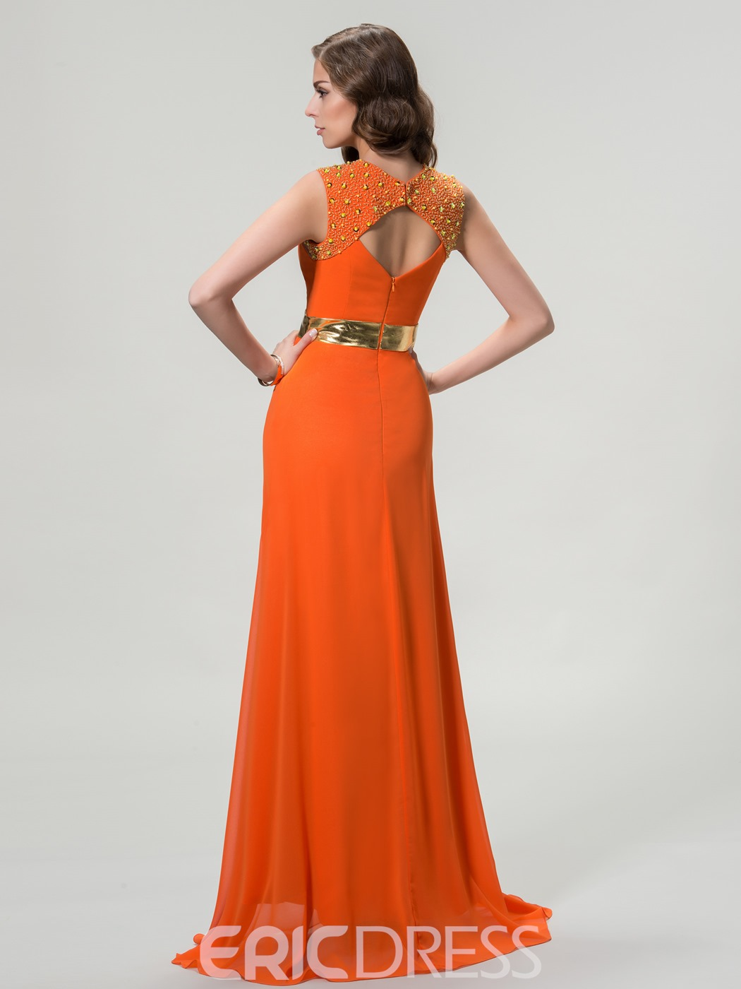 Concise Column Split Front Floor-Length Evening Dress