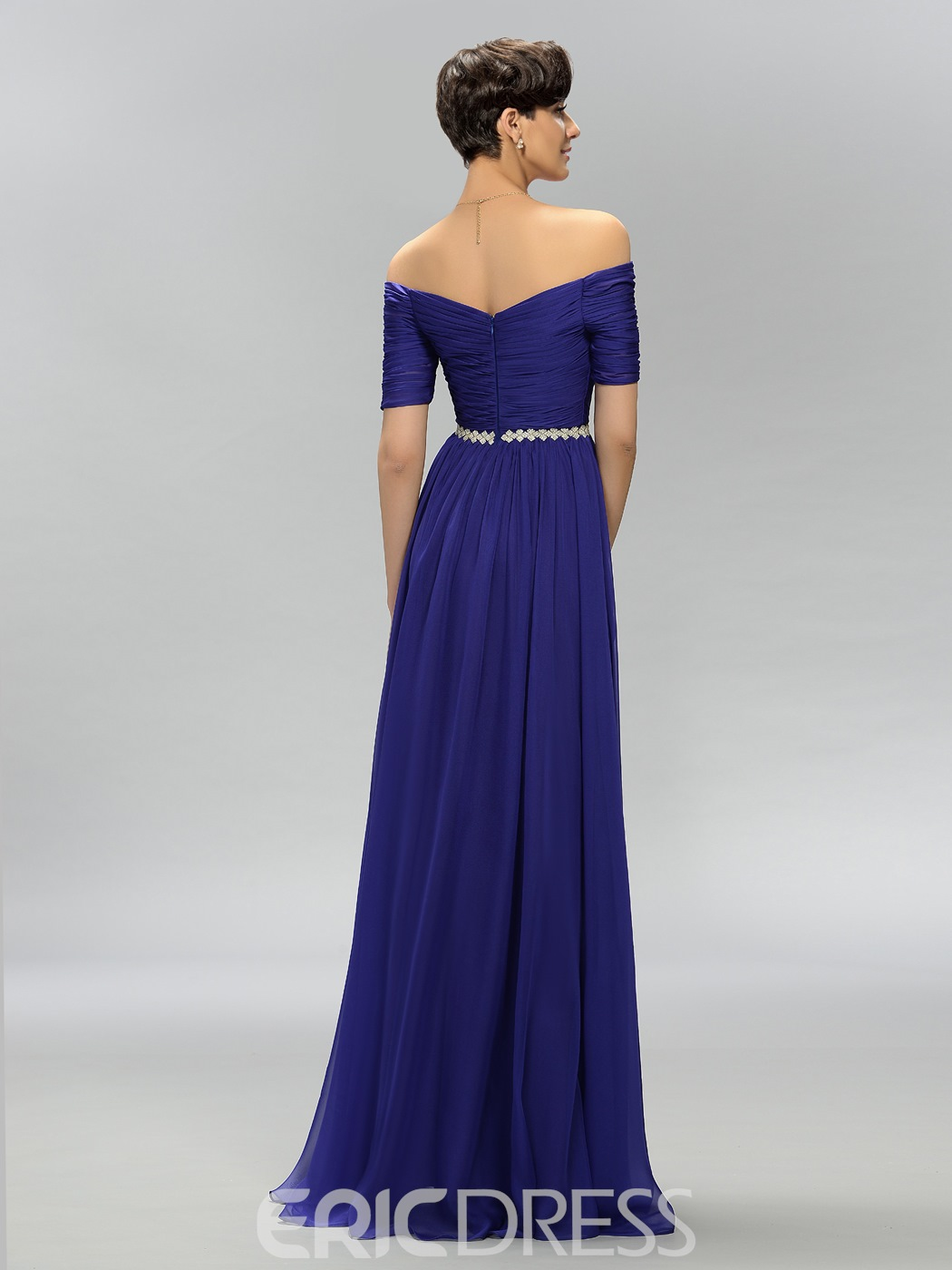 Charming A-Line Off the Shoulder Pleats Evening Dress