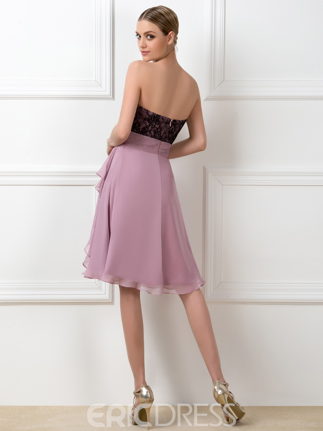 A-Line Sweetheart Lace Knee Length Bridesmaid Dress