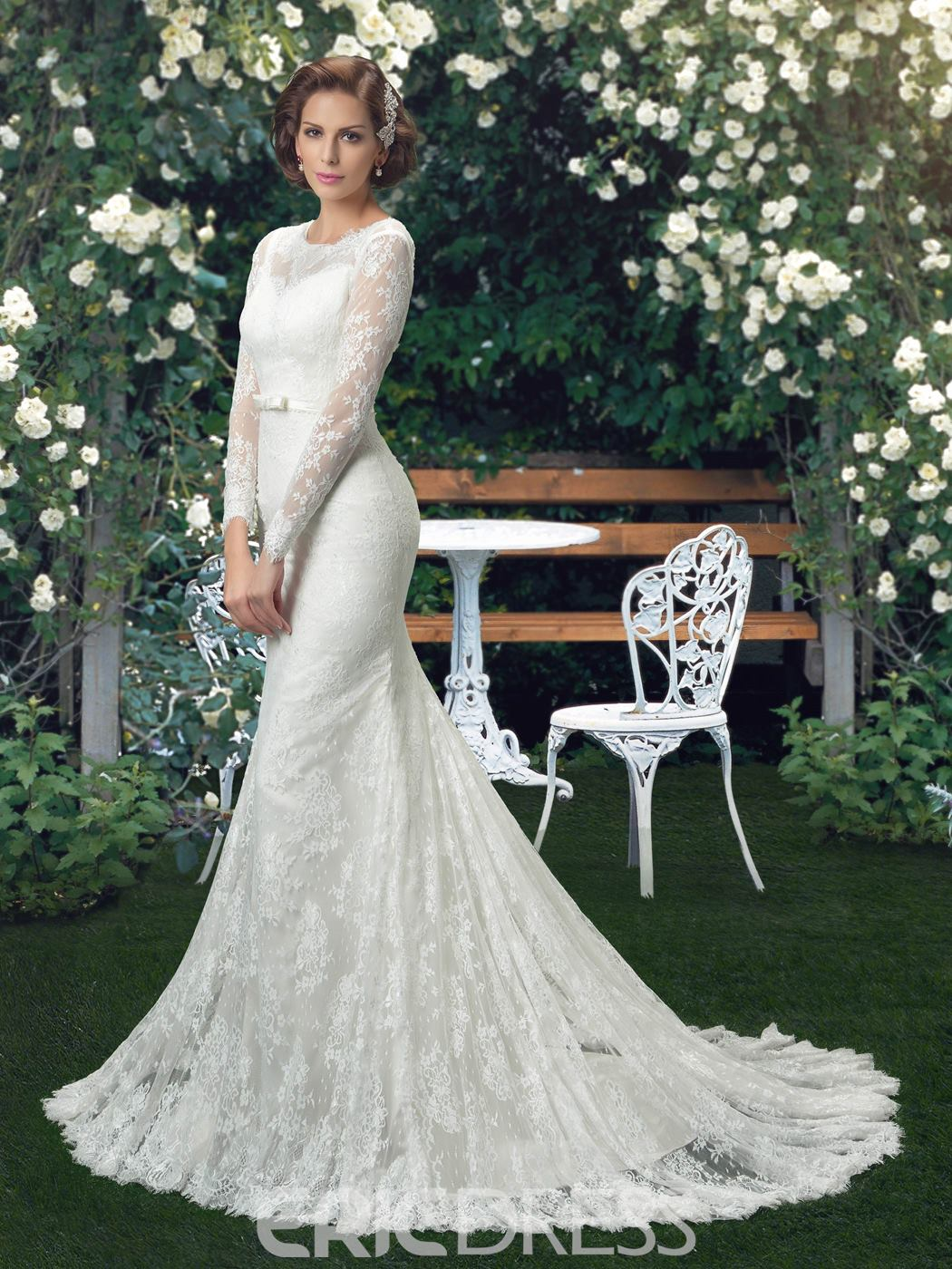 Ericdress Button Lace Long Sleeves Mermaid Wedding Dress