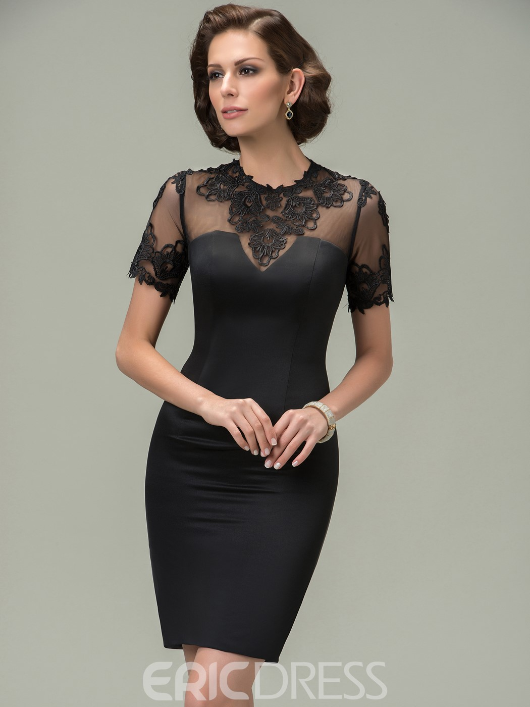 Jewel Appliques Short Sleeves Mother of the Bride Dress