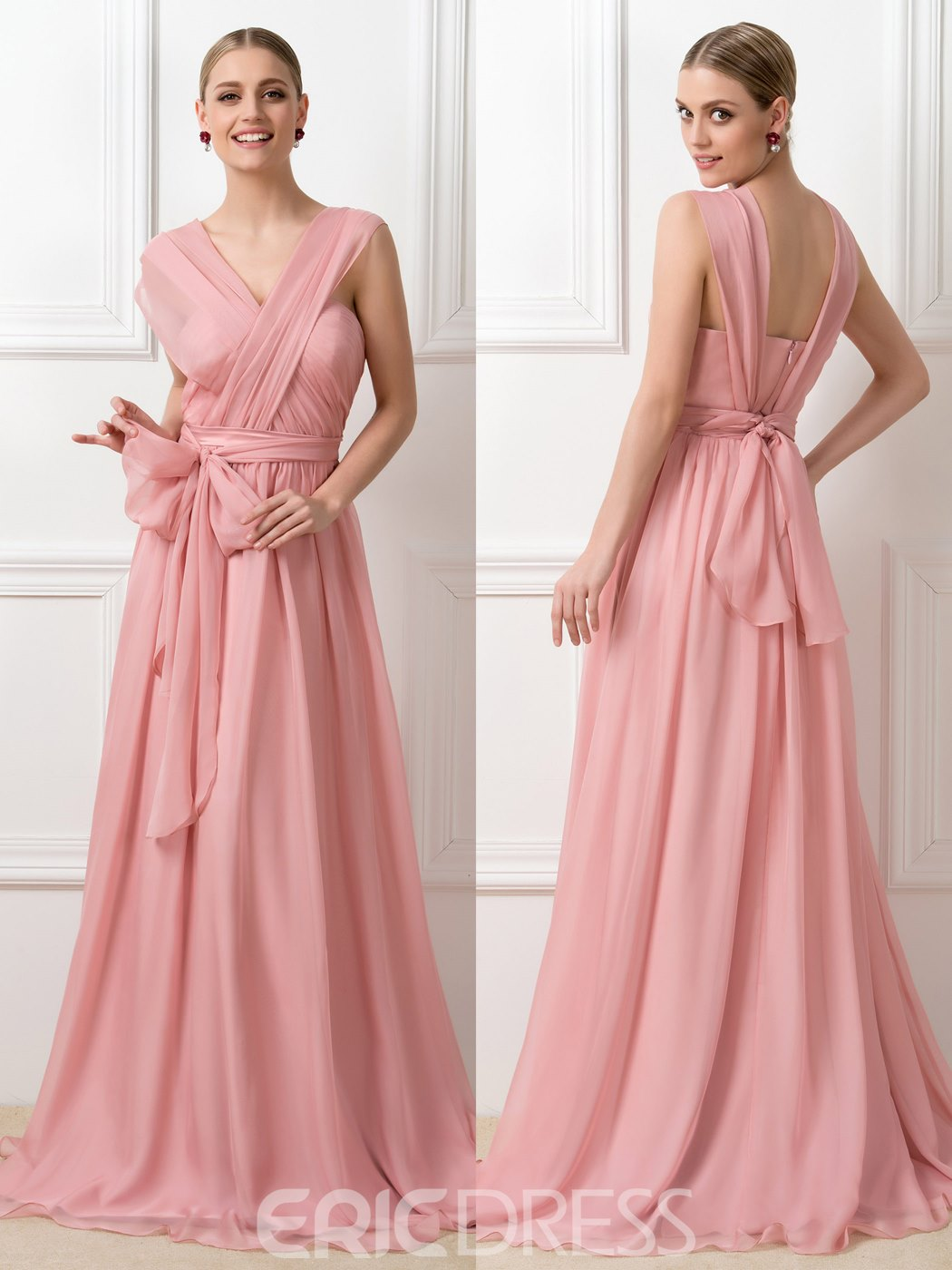 Concise Ruched Long Bridesmaid Dress