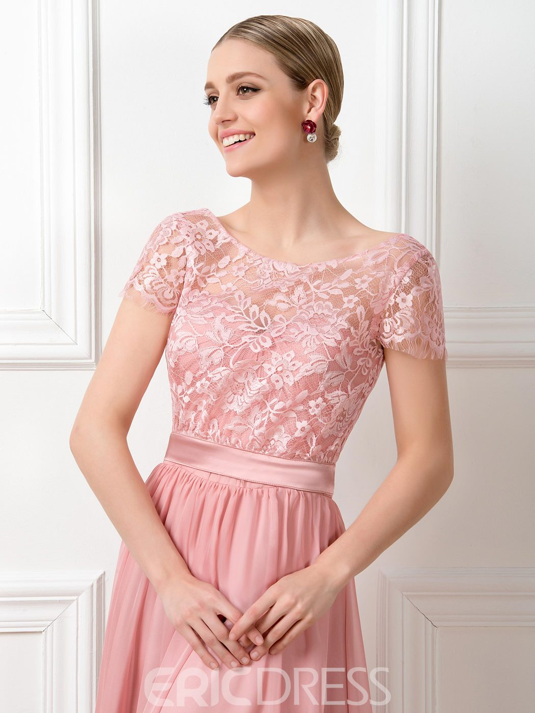 Ericdress Short Sleeves Lace Bridesmaid Dress