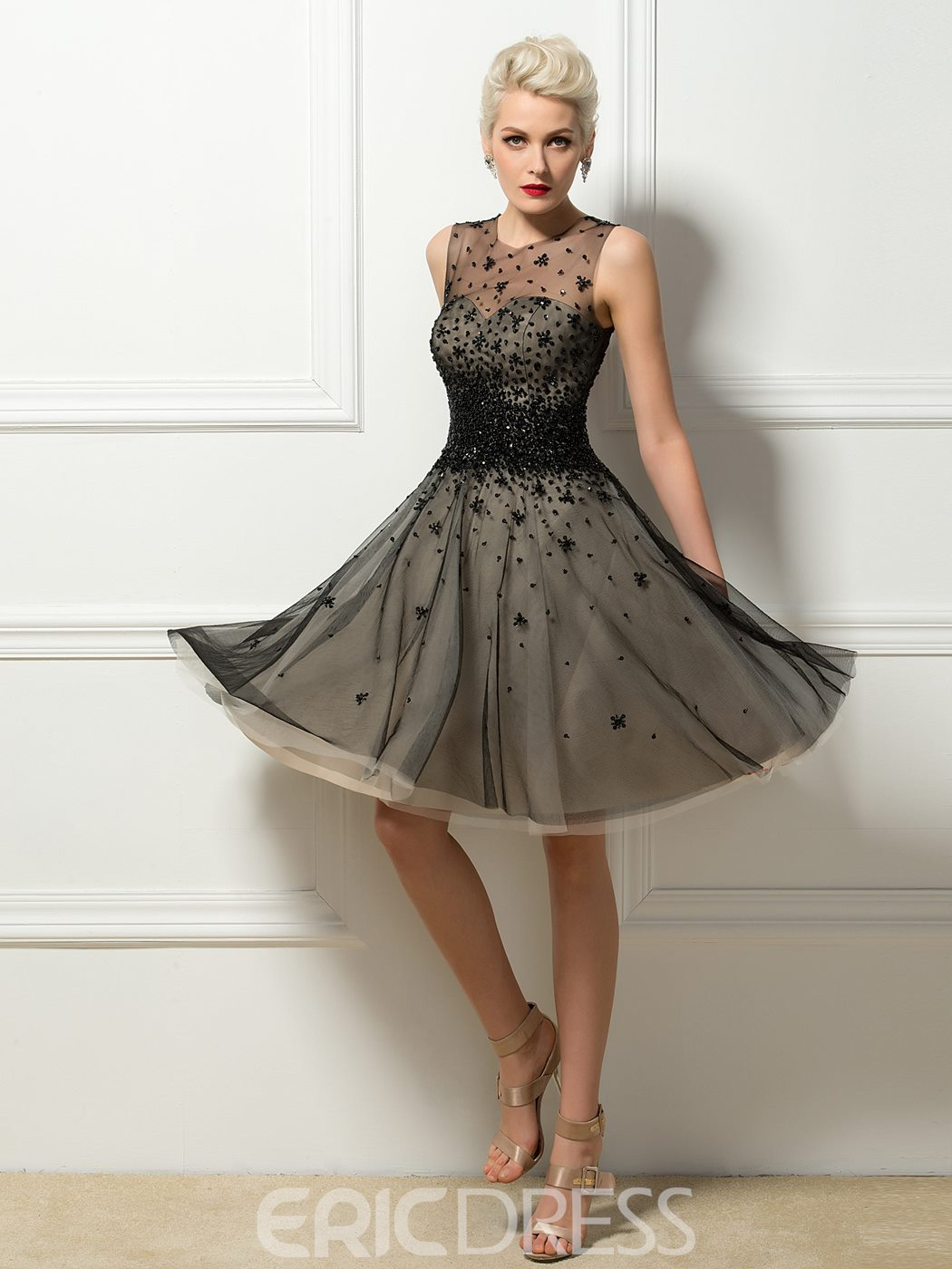 Modern Tulle Neck Beading A-Line Short Cocktail Dress