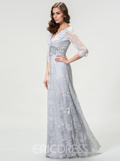 Ericdress V-Neck Lace Beading Mother of the Bride Dress