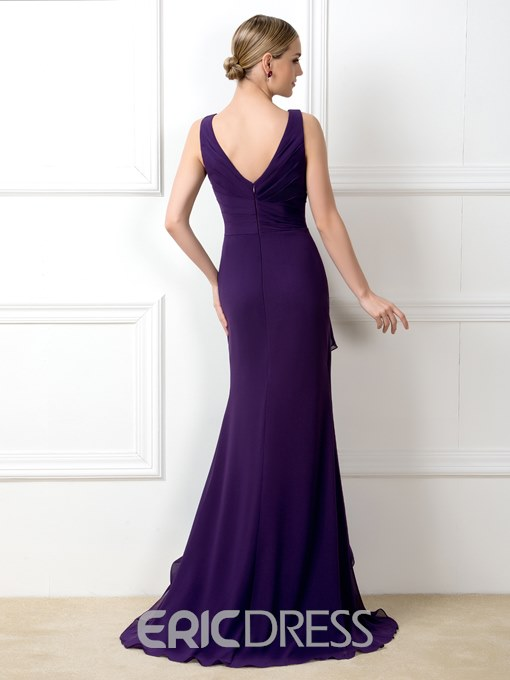 Ericdress V-Neck Ruffles Long Bridesmaid Dress
