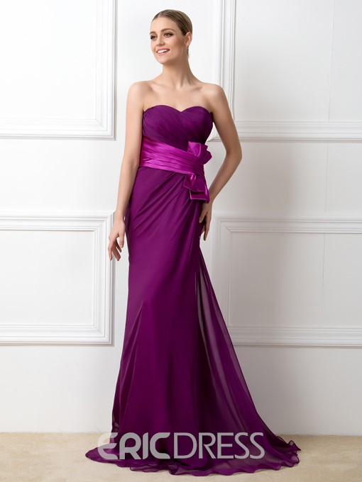 Pretty Sweetheart Bowknot Sheath Bridesmaid Dress