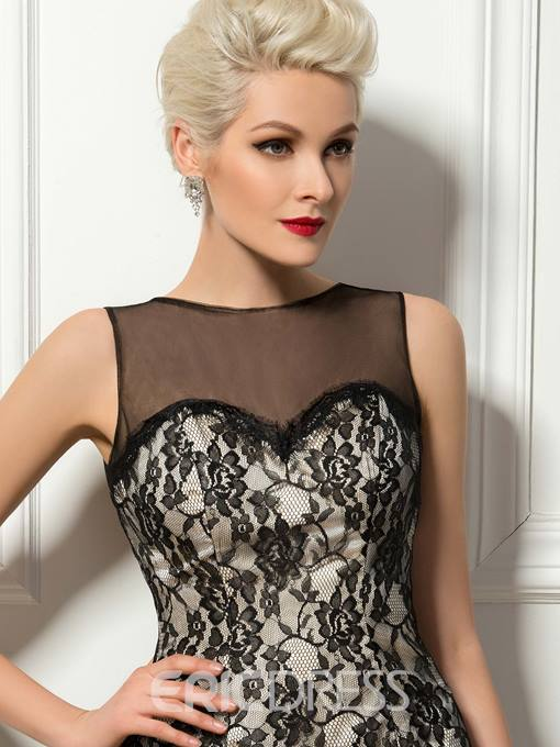 Sexy Sheer Back Tulle Neck Lace A-Line Mini Cocktail Dress