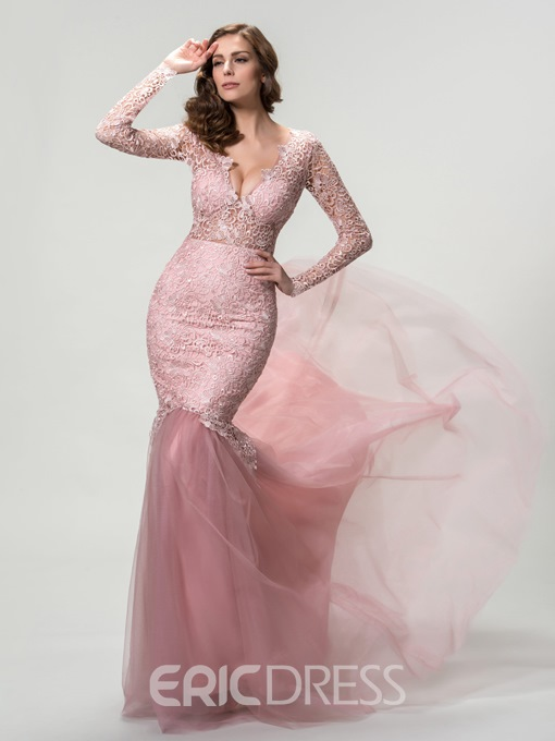 Mermaid Long Sleeves Deep V-Neck Evening Dress