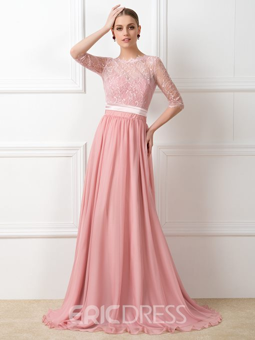 Sashes Lace Half Sleeves Bridesmaid Dress