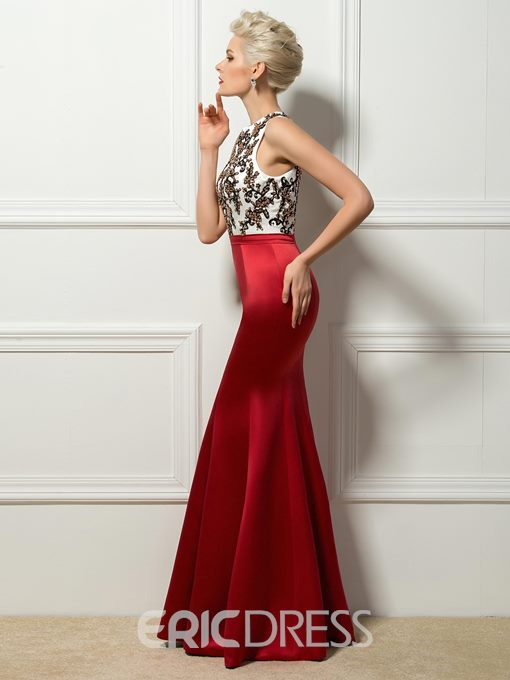 Modern Scoop Beading Appliques Mermaid Evening Dress