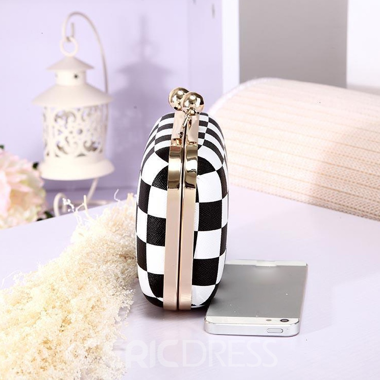 Color Block Plaid PU Clutch Bag