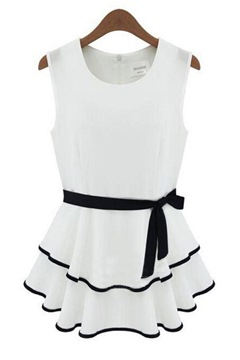 Ericdress Above Knee Sleeveless A-Line Color Block Dress