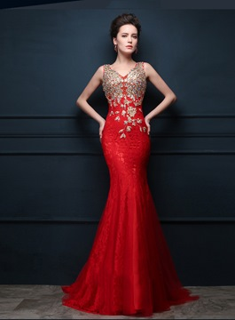 Ericdress Amazing V-Neck Beading Sweep Train Mermaid Evening Dress