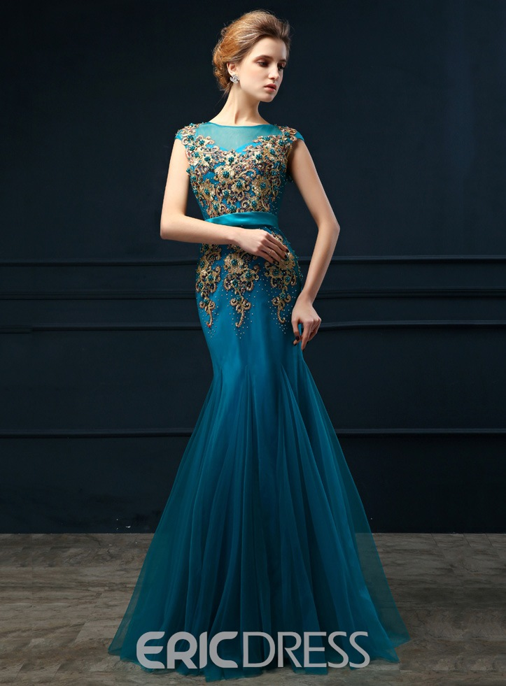 Ericdress Mermaid Pearl Appliques Long Evening Dress